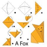 Krok po kroku instrukcje dlaczego robić origami Fox Zdjęcie Royalty Free