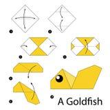 Krok po kroku instrukcje dlaczego robić origami Goldfish Zdjęcie Stock