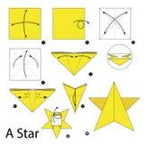 Krok po kroku instrukcje dlaczego robić origami gwiazdzie Fotografia Royalty Free