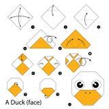Krok po kroku instrukcje dlaczego robić origami kaczki (twarz) Obrazy Royalty Free