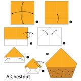 Krok po kroku instrukcje dlaczego robić origami kasztanowi Obraz Royalty Free