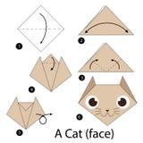 Krok po kroku instrukcje dlaczego robić origami kota Obraz Royalty Free