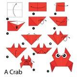 Krok po kroku instrukcje dlaczego robić origami kraba Obraz Stock