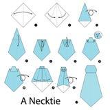 Krok po kroku instrukcje dlaczego robić origami krawatowi Obraz Royalty Free