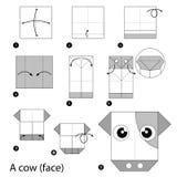 Krok po kroku instrukcje dlaczego robić origami krowy Obraz Royalty Free