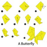 Krok po kroku instrukcje dlaczego robić origami motyla Obrazy Stock