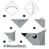 Krok po kroku instrukcje dlaczego robić origami myszy Zdjęcia Royalty Free