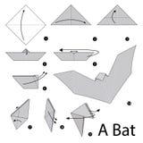 Krok po kroku instrukcje dlaczego robić origami nietoperzowi Obraz Stock