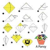 Krok po kroku instrukcje dlaczego robić origami Pansy Obrazy Royalty Free