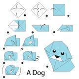 Krok po kroku instrukcje dlaczego robić origami psa Fotografia Stock