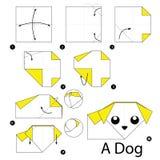 Krok po kroku instrukcje dlaczego robić origami psa Zdjęcia Royalty Free