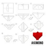 Krok po kroku instrukcje dlaczego robić origami ptaka Royalty Ilustracja