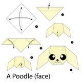 Krok po kroku instrukcje dlaczego robić origami pudla Zdjęcia Stock