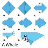 Krok po kroku instrukcje dlaczego robić origami wieloryba Zdjęcia Royalty Free