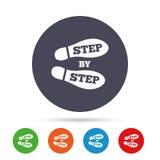 Krok po kroku szyldowa ikona Odcisk stopy kuje symbol Obraz Stock