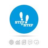 Krok po kroku szyldowa ikona Odcisk stopy kuje symbol Fotografia Royalty Free