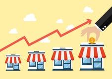 Krok ręka zbiera pieniądze w sklepowym sklepie royalty ilustracja