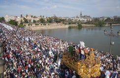 Krok tajemnica San Gonzalo Triana mostem, Seville wielkanoc Obrazy Royalty Free