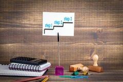 Kroka 1 krok 3 - krok 2 - Pracy biurko Biznesowego sukcesu tło Obraz Stock