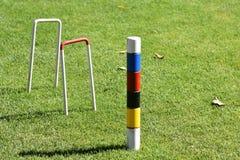 Krokettfeld und -Tore stockbild