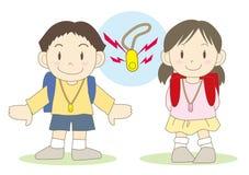 Kroki bezpieczeństwa dla dzieci - ochrona brzęczyk ilustracja wektor