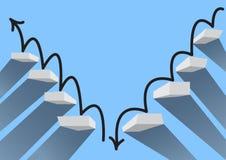 Kroki Pomyślna inwestycja i kroki inwestorscy niepowodzenia royalty ilustracja