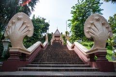 Kroki prowadzi do Wata Phnom wzg?rza, Phnom Penh obrazy royalty free