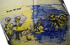 Kroki-Skizze Mann im Spiegel Stockbild