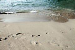 Kroki w piasku Zdjęcia Royalty Free