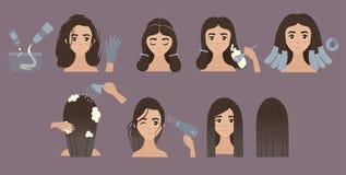 Kroki zmieniać włosianego kolor Tytułowanie włosy Ombre Royalty Ilustracja