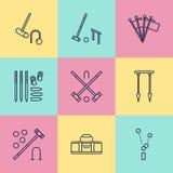 Krokietowego sporta wektoru linii gemowe ikony Piłka, dobniaki, obręcze, czopy, kąt zaznacza Ogród, gazon aktywność znaki ustawia royalty ilustracja