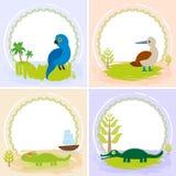 Krokodil alligator, leguan, papegojafågel, dumskalle, uppsättning av kortdesignen med roliga djur, mallbaner för din text Fotografering för Bildbyråer