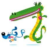 Krokodil & hond Royalty-vrije Stock Afbeeldingen