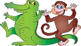 Krokodil en aap Royalty-vrije Stock Foto's