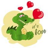 Krokodil för hälsningkort med hjärtor royaltyfri illustrationer