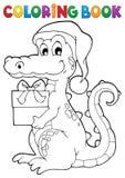 Krokodil för jul för färgläggningbok vektor illustrationer
