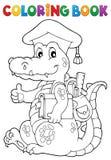 Krokodil för tema för skola för färgläggningbok stock illustrationer