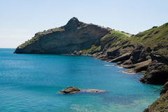 Krokodil gevormde berg in blauwe overzees Stock Foto