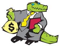 Krokodil in grijs kostuum. Royalty-vrije Stock Afbeelding