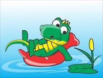 Krokodil het zwemmen Royalty-vrije Stock Afbeeldingen