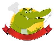 Krokodil-Koch-Fahne Lizenzfreie Stockfotos