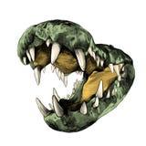 Krokodil med stora tänder stock illustrationer