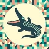 Krokodil med tappningbakgrund Royaltyfri Foto