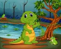Krokodil och groda i djungeln med sjöplats vektor illustrationer
