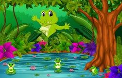 Krokodil och groda i djungeln med sjöplats stock illustrationer