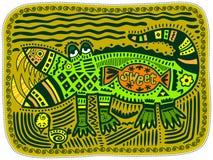 Krokodil och höna Arkivbilder