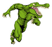 Krokodil- oder Alligatormaskottchenbetrieb Stockbilder