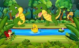 Krokodil två i skogen vektor illustrationer