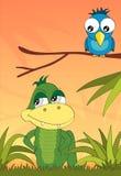 Krokodil und der Vogel im Dschungel, Vektor lizenzfreie abbildung