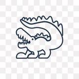 Krokodil vectordiepictogram op transparante lineaire achtergrond wordt geïsoleerd, royalty-vrije illustratie